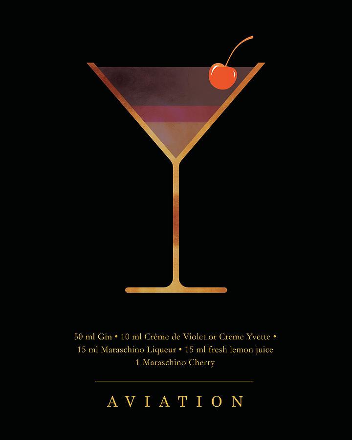 Aviation Digital Art - Aviation Cocktail - Classic Cocktails Series - Black And Gold - Modern, Minimal Decor by Studio Grafiikka