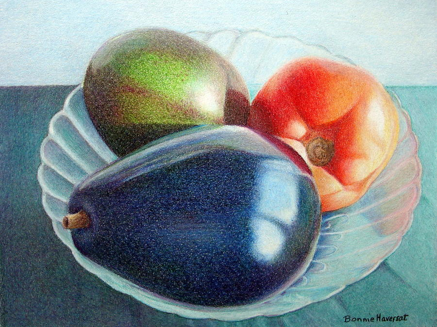 Still Life Painting - Avocados And A Tomato by Bonnie Haversat