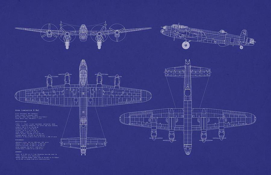Avro Lancaster Bomber Digital Art - Avro Lancaster Bomber Blueprint by Michael Tompsett