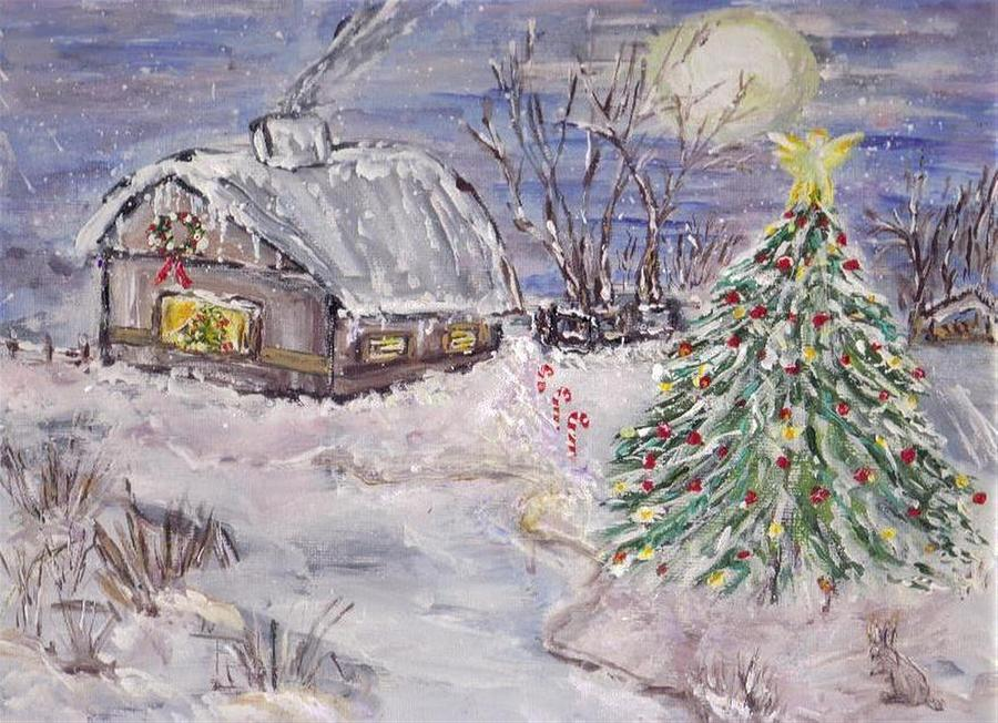 Christmas Painting - Awaiting Christmas  by Mary Sedici