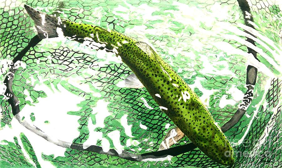 Trout Painting - Awaiting Freedom by Jason Bordash