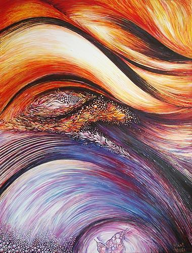 Abstract Expressionism Painting - Awakening from her dream by Natalia Pietsch