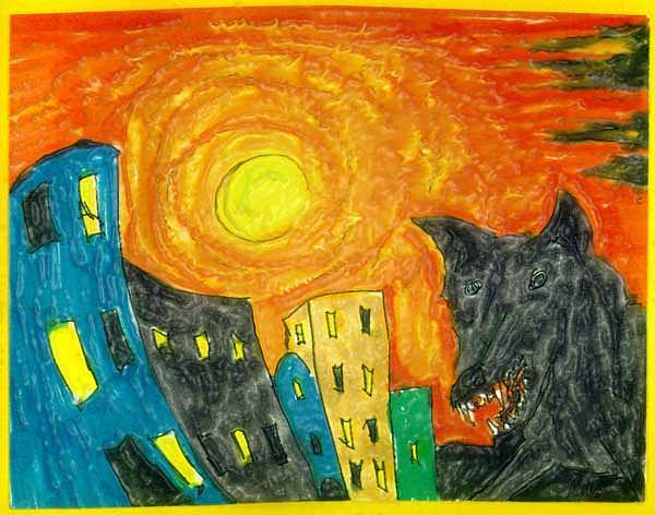 Wolf Drawing - Awakening by Raul Morales