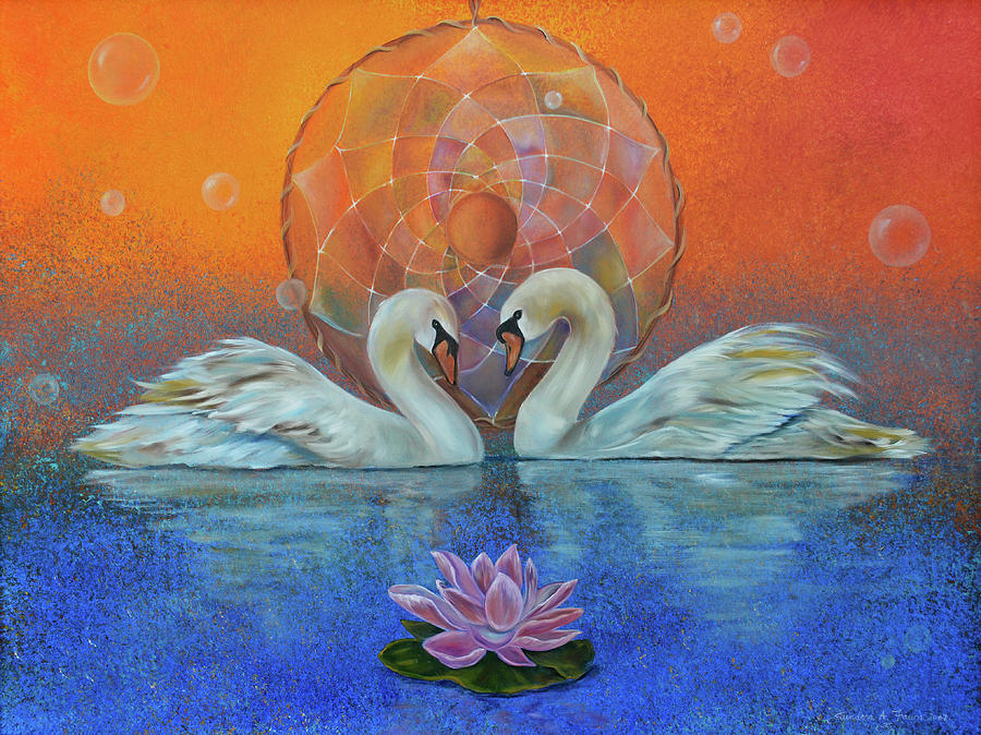 Swans Painting - Awakening To The Beauty Within by Sundara Fawn