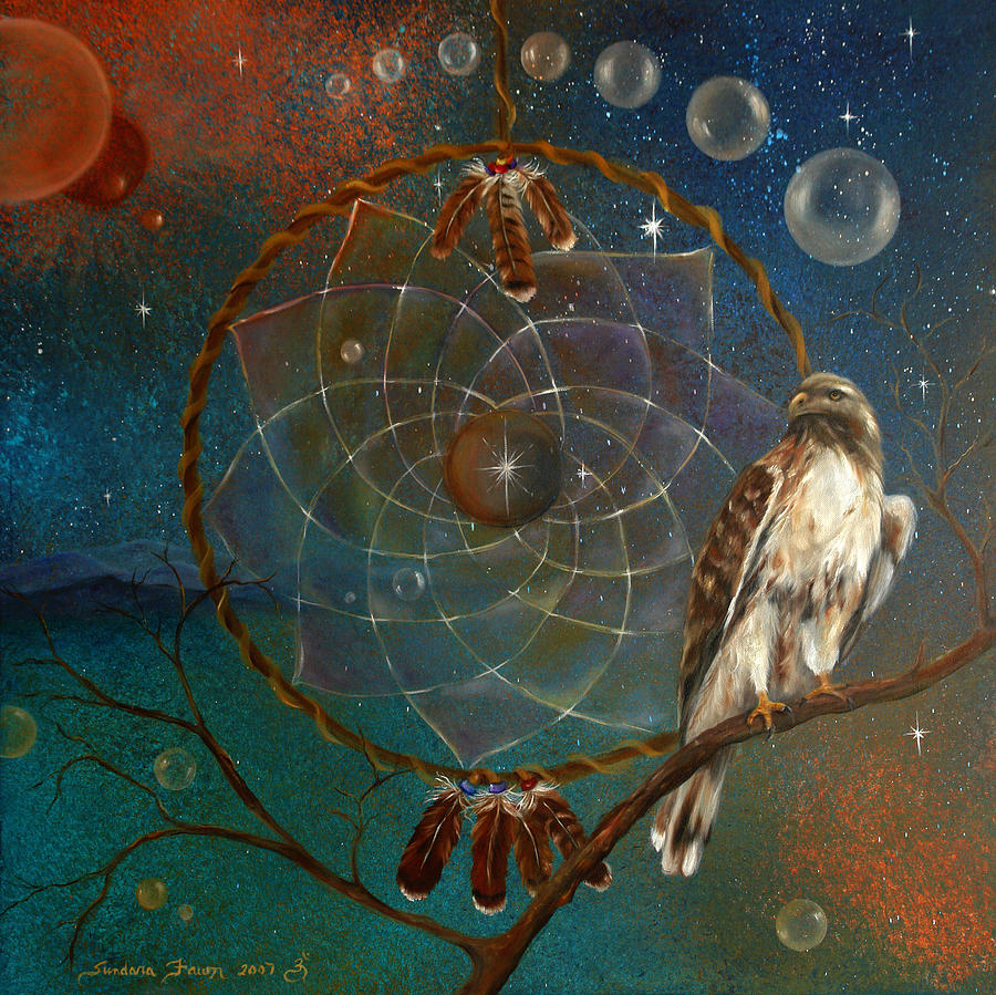 Red Tailed Hawk Painting - Awakening Visionary Power by Sundara Fawn