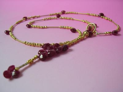 Award-winning Ruby Briolette Lariat Jewelry by Mia Katrin