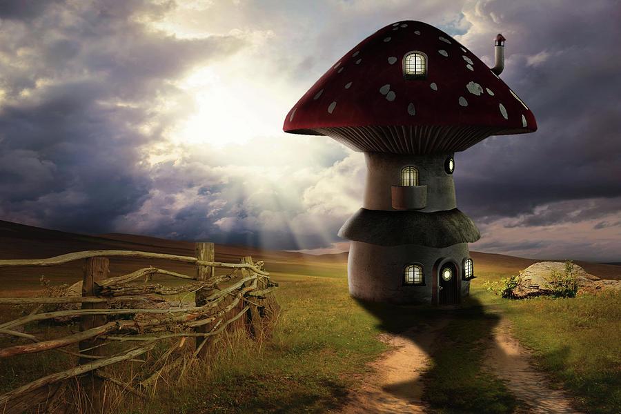 Mushroom House Digital Art - Away From Civilization by Solomon Barroa