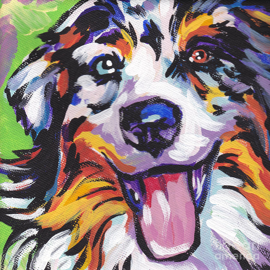 Australian Shepherd Painting - Awesome Aussie by Lea S