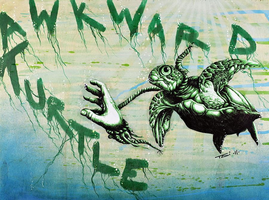 Sea Turtle Drawing - Awkward Turtle by Tai Taeoalii