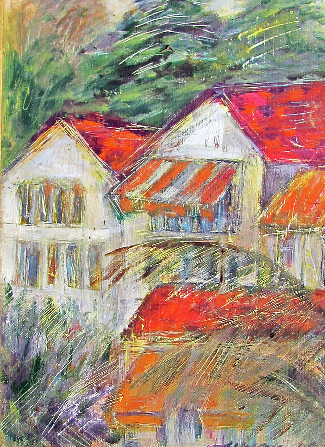 Awnings Painting - Awnings by Lily Hymen