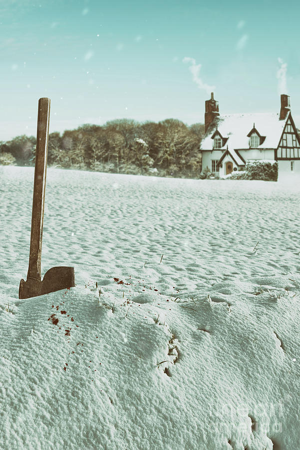 Snow Photograph - Axe In The Snow by Amanda Elwell