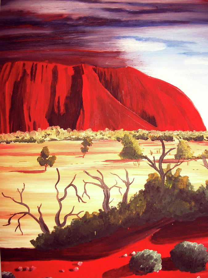 Oil Red Ayres Rock Painting - Ayres Rock by Martin Williams