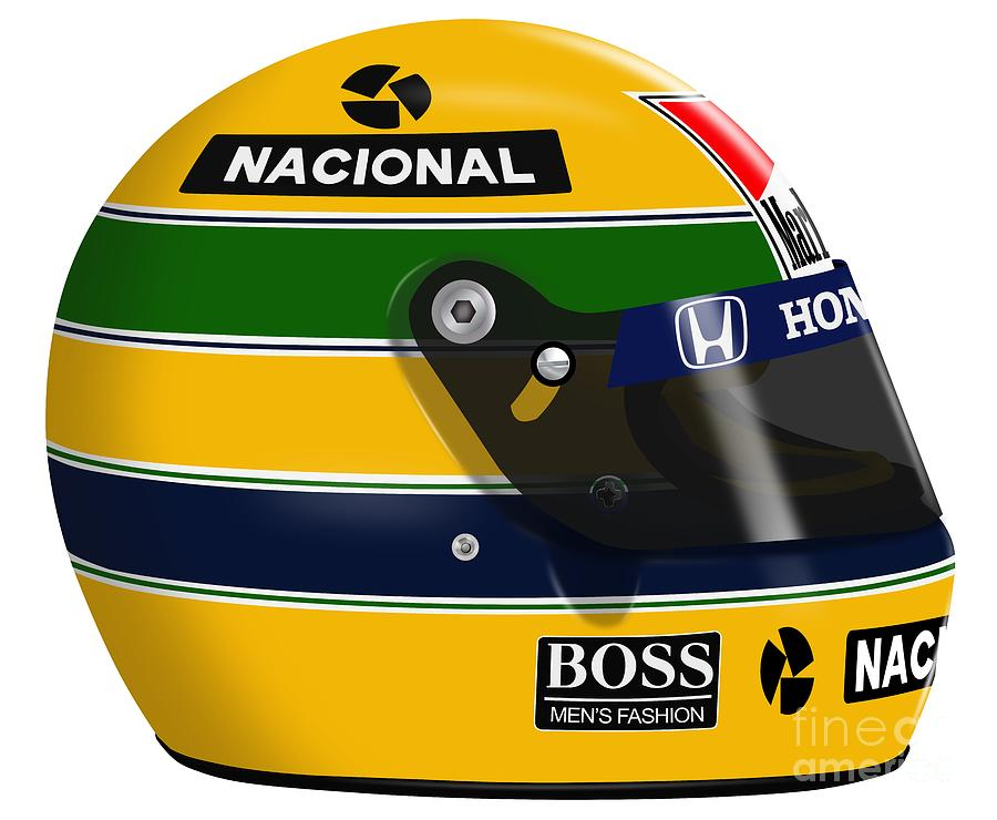 ayrton senna 1988 helmet digital art by jeremy owen. Black Bedroom Furniture Sets. Home Design Ideas