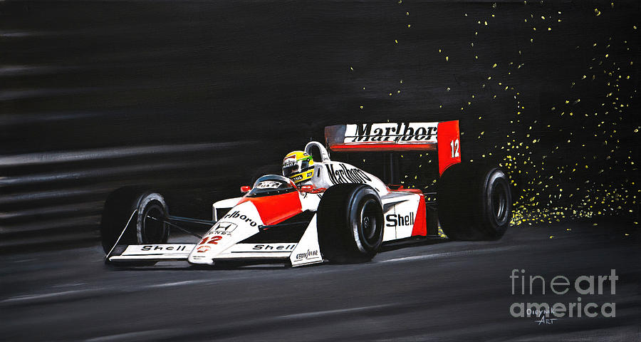 Ayrton Senna. Mclaren MP4/4 1988 Painting by Artem Oleynik