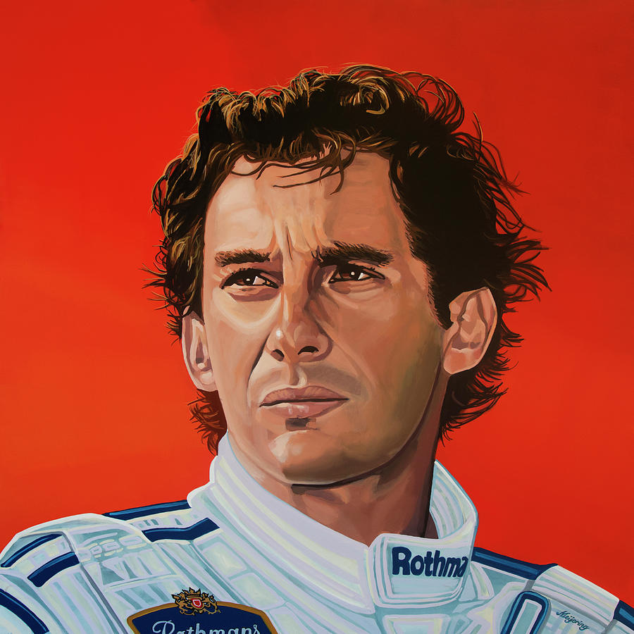 Ayrton Senna Portrait Painting Painting By Paul Meijering