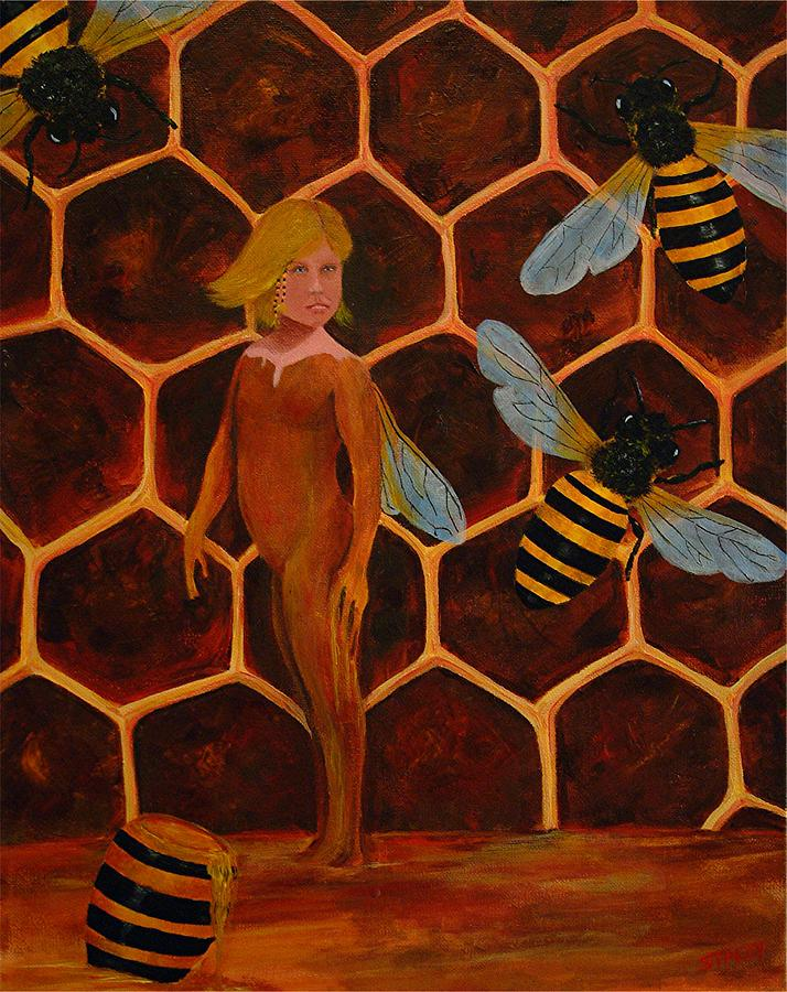 Bee Painting - Aysa The Keeper Of Bees by Ned M Stacey Sr