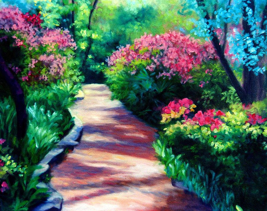 Florida Landscape Painting - Azalea Path by Diane Martens