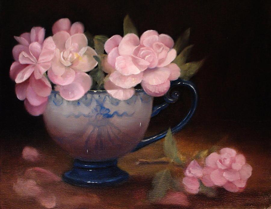 Flower Still Life Painting - Azaleas In A Cup by Loretta Fasan