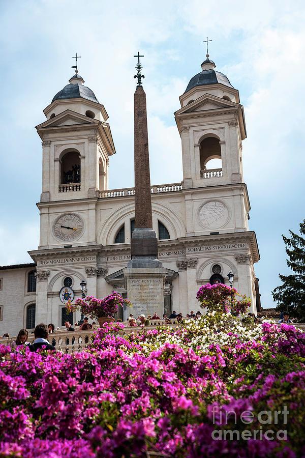 St Maria Photograph - Azaleas On The Spanish Steps In Rome by Brenda Kean