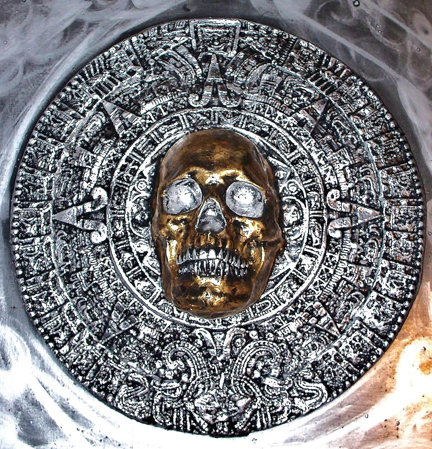 Aztec  Mayan Skull Warrior Calendar Relief Photo Photograph by Americo Salazar