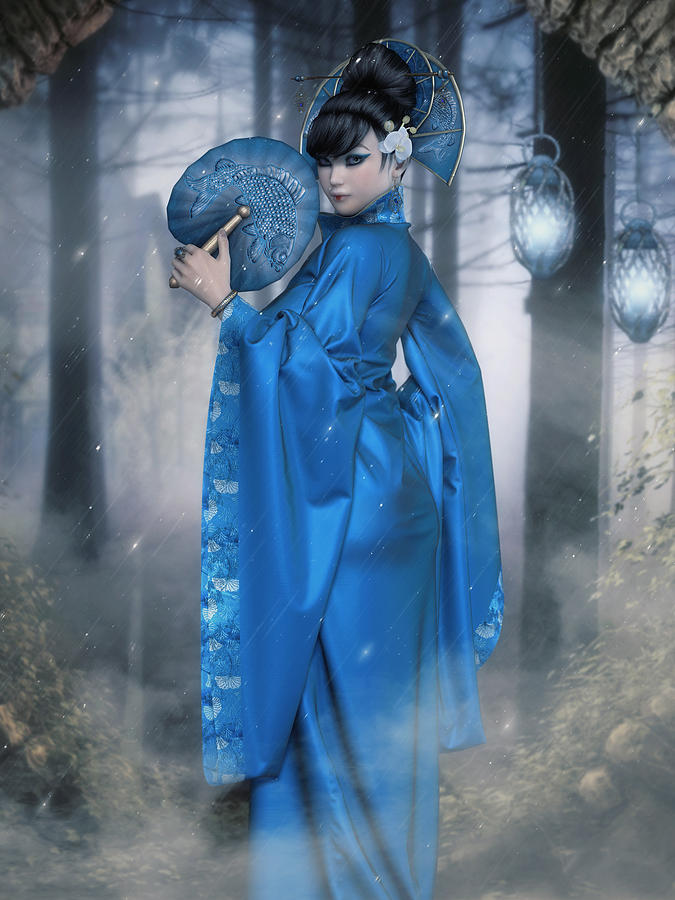 Azure Empress Digital Art by Rachel Dudley
