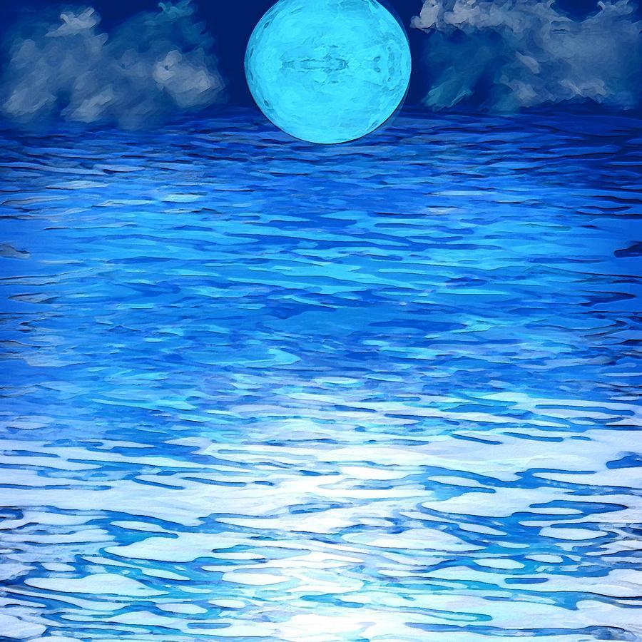 Moon Digital Art - Azure by Karen Conine