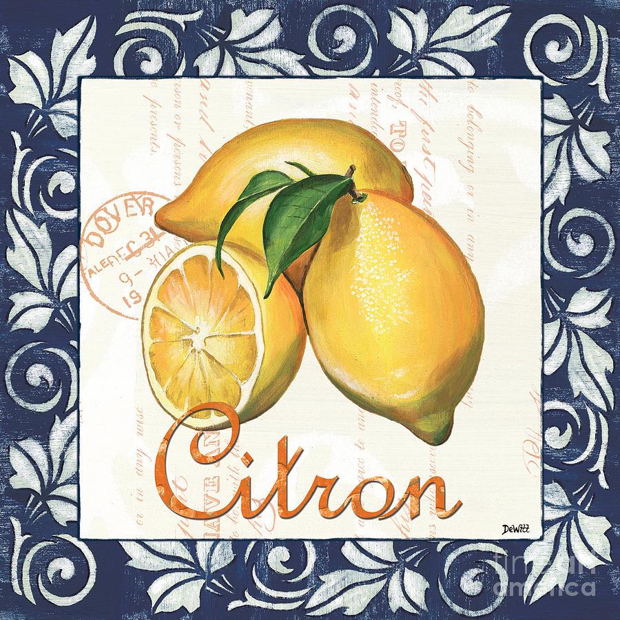 Lemon Painting - Azure Lemon 2 by Debbie DeWitt
