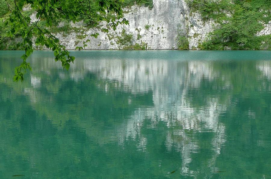 Water Surface Photograph - Azure Water Of Plitvice Lakes Park by Olga Kurygina