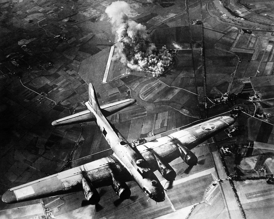B 17 Photograph - B-17 Bomber Over Germany  by War Is Hell Store