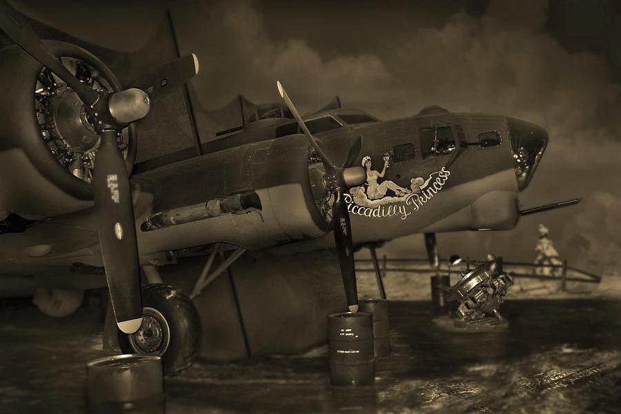 Warbird Photograph - B - 17 Field Maintenance  by Mike McGlothlen