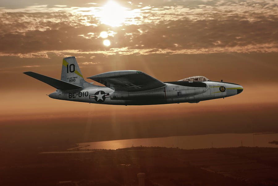 Military Airplanes Mixed Media - B-45c Tornado by Erik Simonsen
