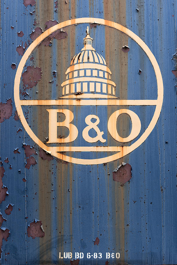 B&o Railroad Photograph - B And O Railroad Rail Car Signage by Jeff Abrahamson