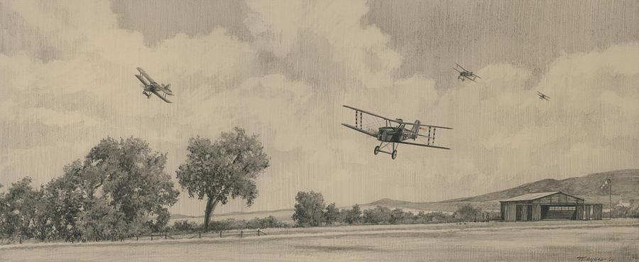 Great War Drawing - B Flights Back by Wade Meyers