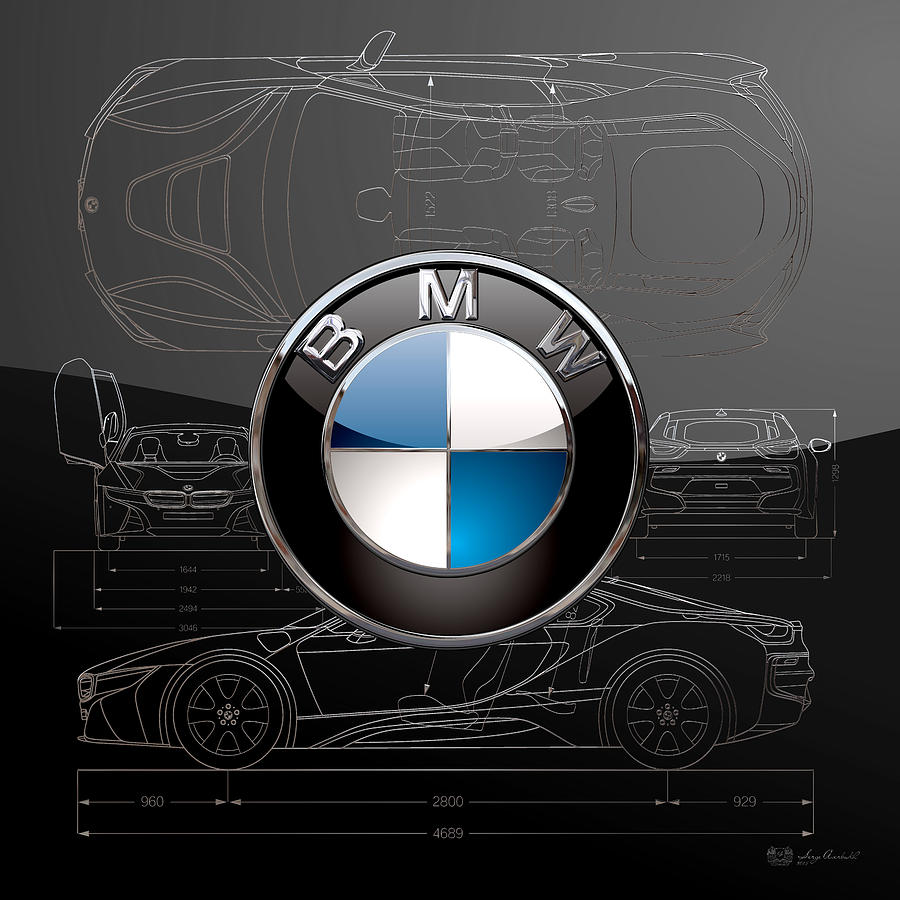 Car Digital Art - B M W  3 D  Badge Over B M W I8 Silver Blueprint On Black Special Edition by Serge Averbukh
