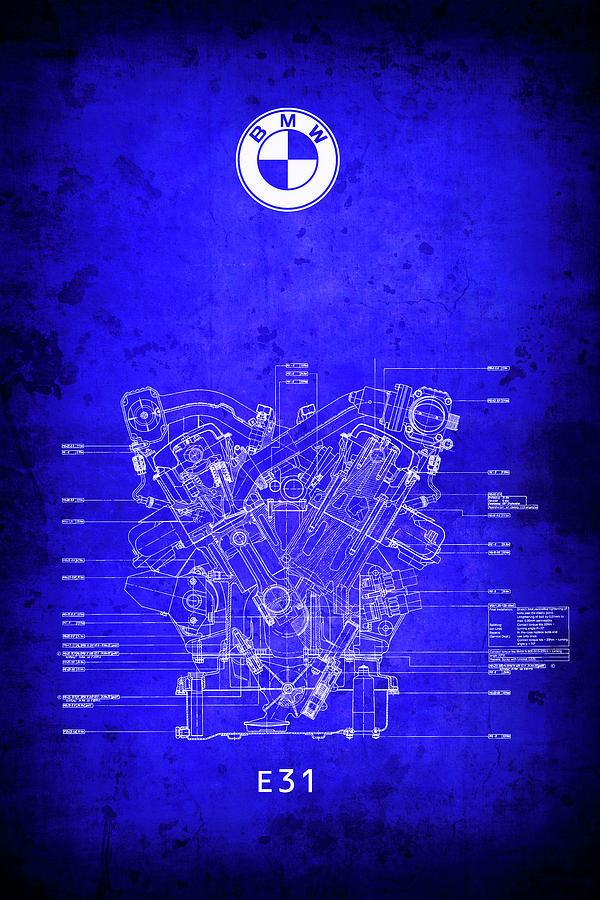 B m w v12 e31 engine blueprint digital art by daniel hagerman bmw digital art b m w v12 e31 engine blueprint by daniel hagerman malvernweather Images