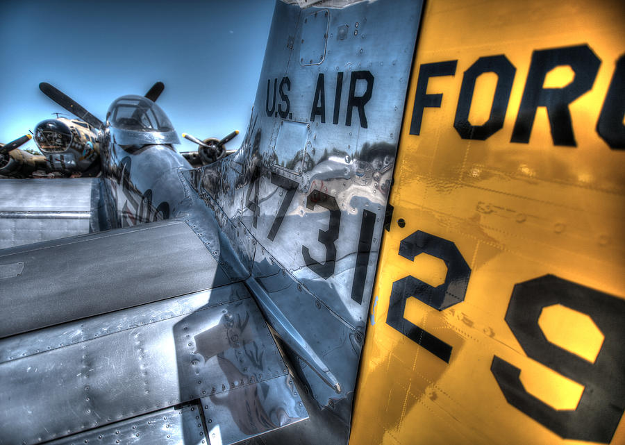 B17 And Her P51 Mustang Escort Sit Ready Photograph by John King