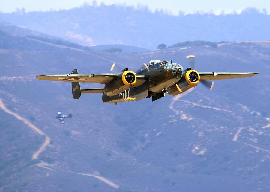 B25 Photograph - B25 Mitchell Flyby At Salinas by John King