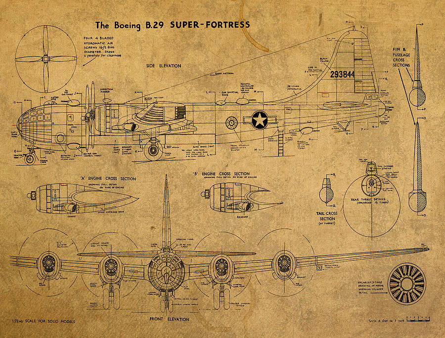 B29 Superfortress Military Plane World War Two Schematic Patent ...