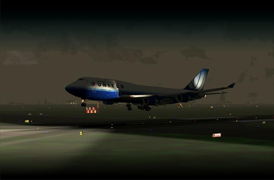 Airliner Digital Art - B747-400 Night Landing by Mike Ray