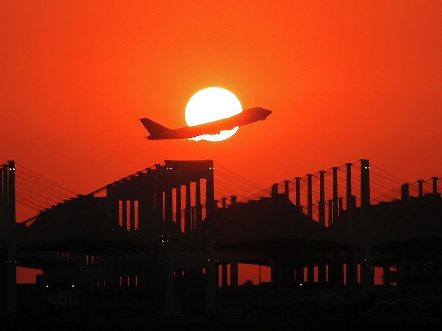 B747 Photograph - B747 Sunset Take-off by Graham Taylor