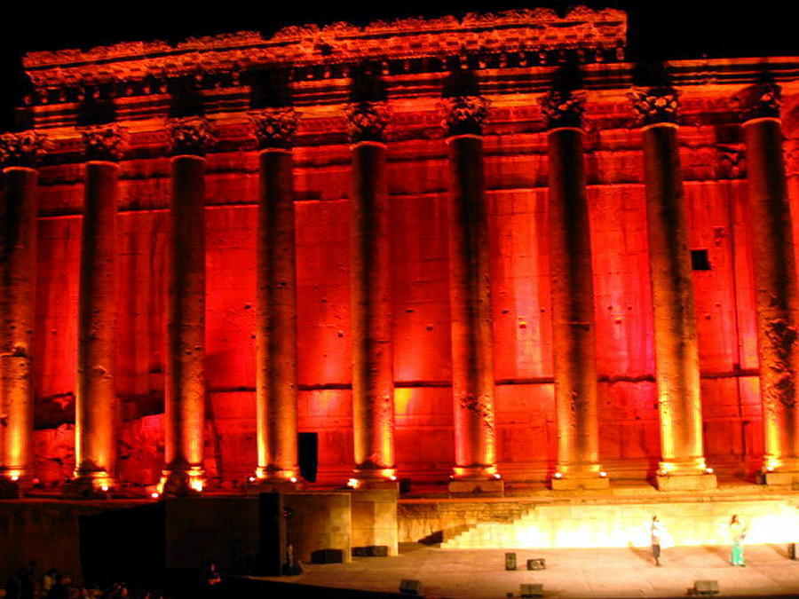Baalbeck By Night Photograph by Therese AbouNader