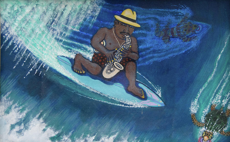 Surf Painting - Baba Louie-surfing Sax Frisbee Player by Dickens Fourtyfour