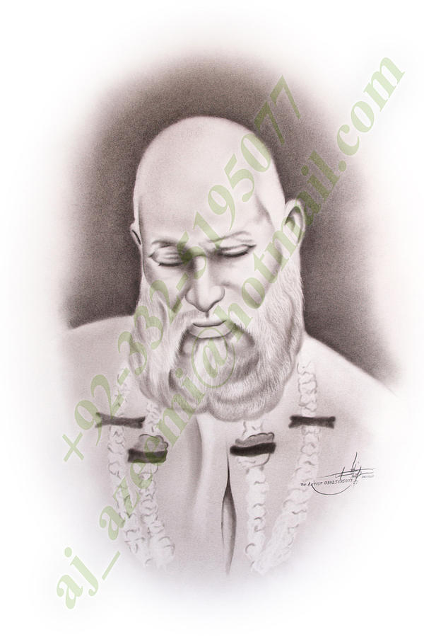 Baba Tajuddin Nagpuri India Drawing by Asif Javed Azeemi