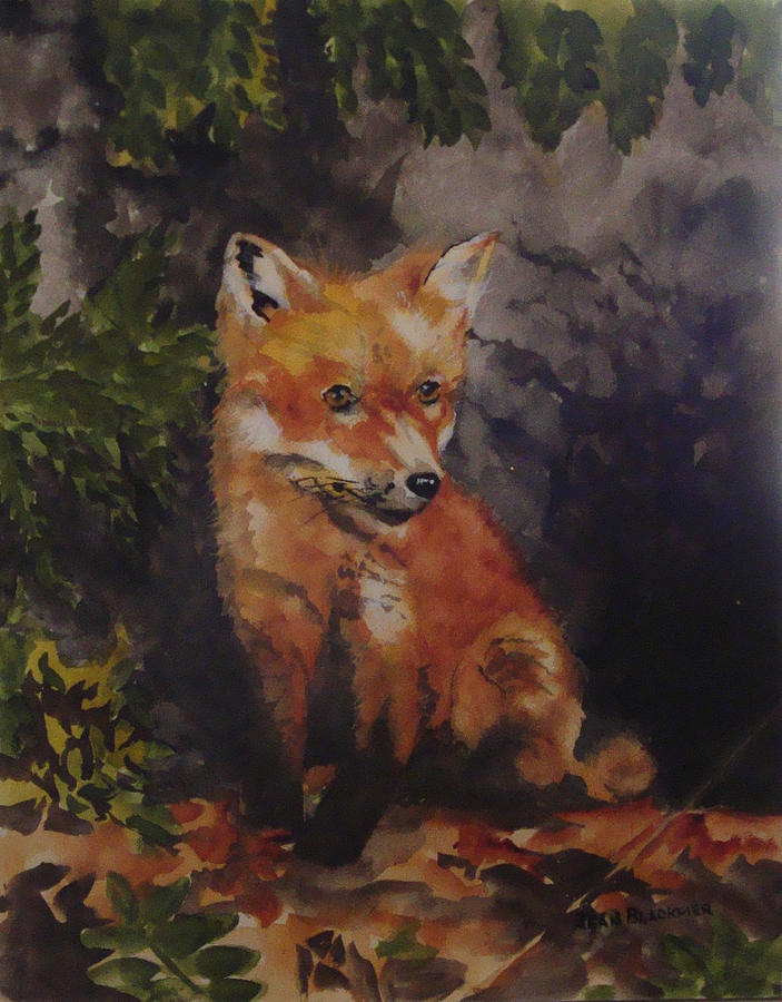 Fox Painting - Babe In The Woods by Jean Blackmer