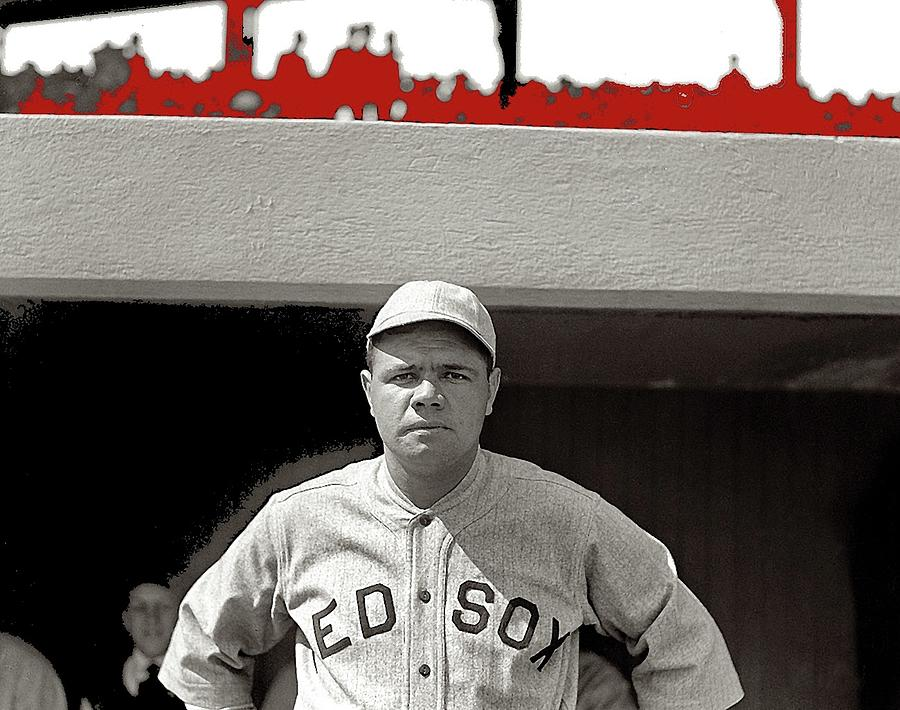 Babe Ruth Boston Red Sox  National Photo Company 1919 Color Added 2015 Photograph