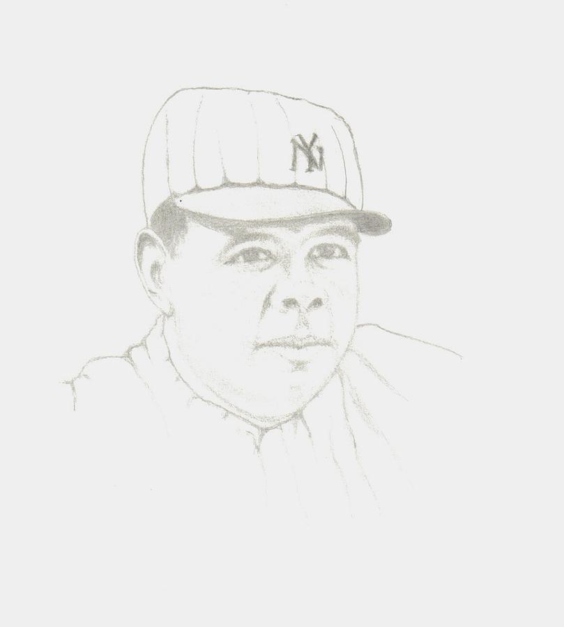 Baseball Drawing - Babe Ruth by Linda Bennett