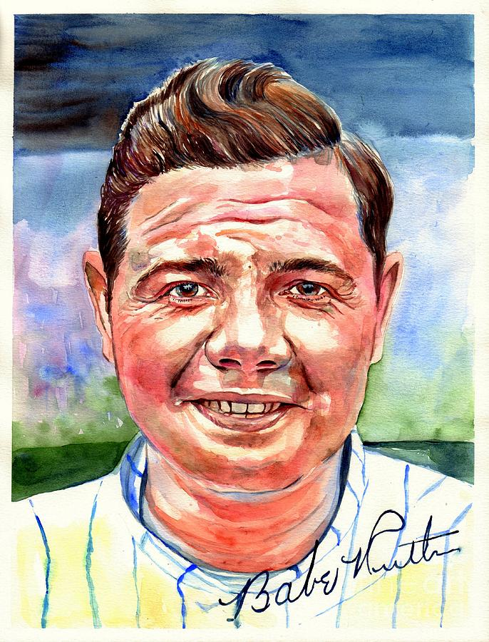 Babe Painting - Babe Ruth Portrait by Suzann Sines
