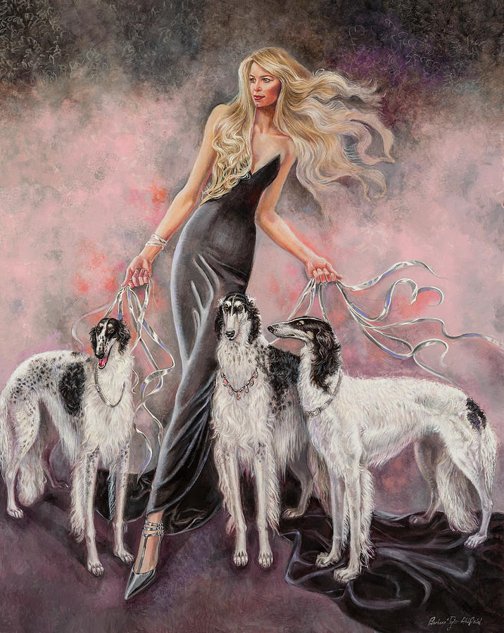 Fashion Illustration Painting - Babs with Three Borzois by Barbara Tyler Ahlfield