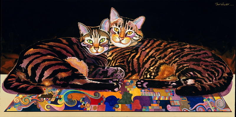 Cats Painting - Baby And Critter by Bob Coonts