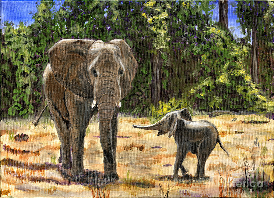 Africa Painting - Baby And Mom Elephant Painting by Timothy Hacker